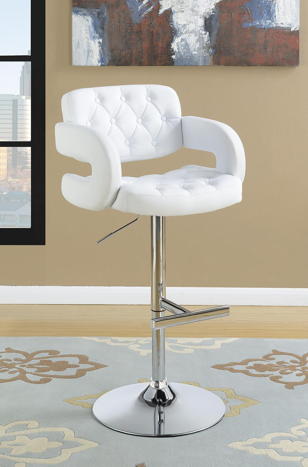 "Rec Room/bar Stools: Height Adjustable - White - 29"" Adjustable Height Bar Stool Chrome And White"