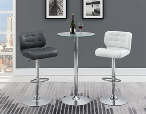 Rec Room/bar Stools: Height Adjustable - White - Upholstered Adjustable Bar Stools Chrome And White (Set of 2)