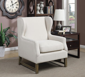 Open image in slideshow, Accents : Chairs - Beige - Wing Back Accent Chair Cream