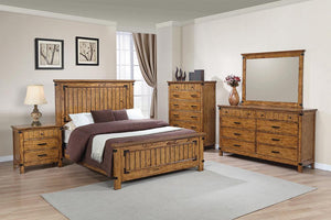 Brenner Collection - Brenner California King Panel Bed Rustic Honey