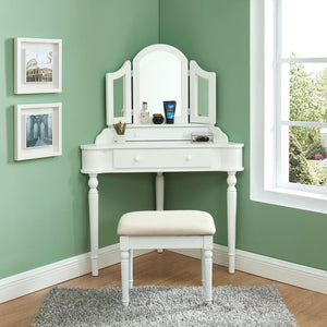 Open image in slideshow, Kasey - Vanity w/ Stool - White