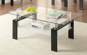 Open image in slideshow, Living Room: Glass Top Occasional Tables - Tempered Glass Coffee Table With Shelf Black