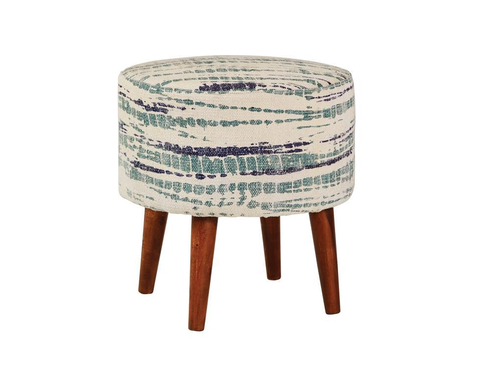 Accents : Ottomans - Blue White - Round Accent Stool Blue And White