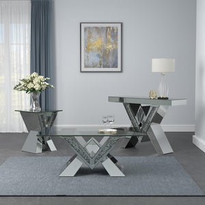 Open image in slideshow, Caldwell V-shaped Sofa Table With Glass Top Silver