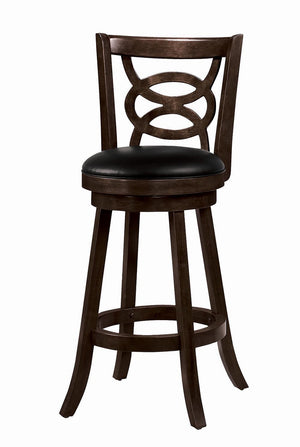 Open image in slideshow, Bar Stools: Wood Swivel - Black - Swivel Bar Stools With Upholstered Seat Cappuccino (Set of 2)