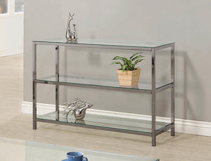 Open image in slideshow, Living Room: Glass Top Occasional Tables - Ontario Sofa Table With Glass Shelf Black Nickel