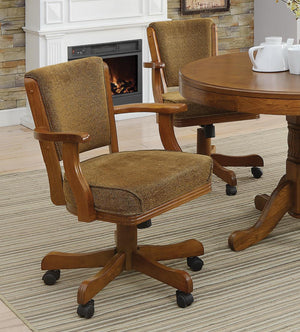 Open image in slideshow, Mitchell Game Table - Olive Brown - Mitchell Upholstered Game Chair Olive-brown And Amber