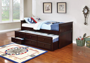 Open image in slideshow, Twin Captain's Bed With Trundle - Twin Captain's Daybed With Storage Trundle Cappuccino