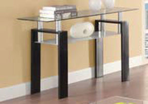 Open image in slideshow, Living Room: Glass Top Occasional Tables - Occasional Contemporary Black Sofa Table Box Two