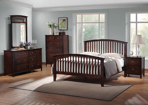 Open image in slideshow, Tia Collection - Tia Eastern King Bed With Slatted Headboard Cappuccino