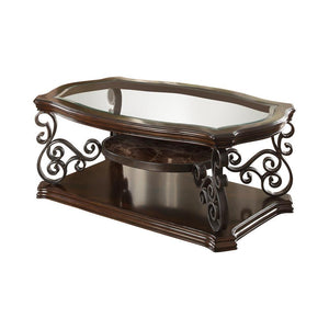 Traditional Occasional Tables - Sir Rawlinson Coffee Table Deep Merlot And Clear