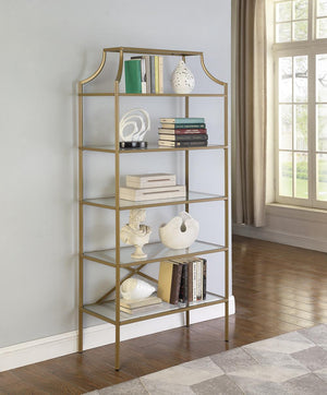 Home Office : Bookcases - 5-tier Tempered Glass Shelves Bookcase Matte Gold