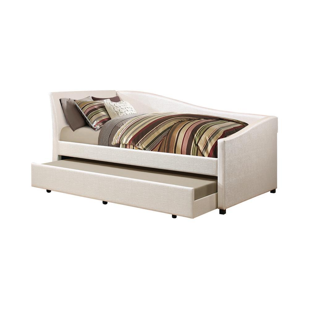 Twin Daybed With Trundle - Ivory - Upholstered Twin Daybed With Trundle Ivory