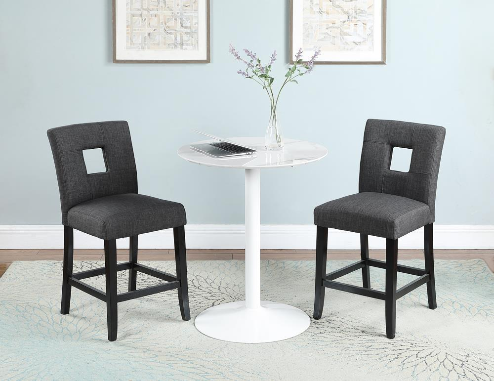 Everyday Dining: Stools - Grey - Upholstered Counter Height Stools Grey And Black (Set of 2)