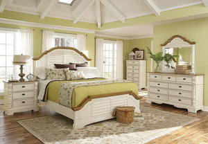 Open image in slideshow, Oleta Collection - Oleta California King Panel Bed With Shutter Detail Buttermilk And Brown