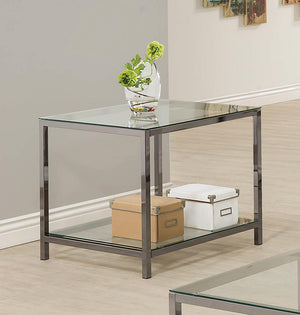 Open image in slideshow, Living Room: Glass Top Occasional Tables - Ontario End Table With Glass Shelf Black Nickel