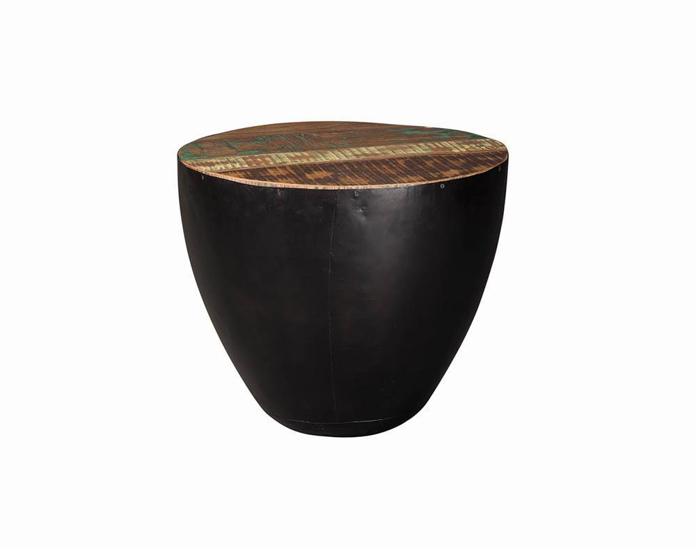 End Table With Drum Base Natural Reclaimed Wood And Black Iron