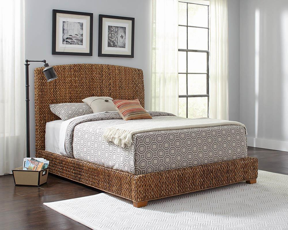 Laughton Collection - Laughton Queen Hand-woven Banana Leaf Bed Amber