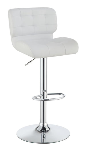 Open image in slideshow, Rec Room/bar Stools: Height Adjustable - White - Upholstered Adjustable Bar Stools Chrome And White (Set of 2)
