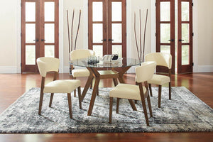 Open image in slideshow, Paxton Collection - Paxton Round Glass Top Dining Table Nutmeg