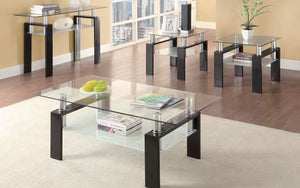 Living Room: Glass Top Occasional Tables - N/a - Occasional Contemporary Black Coffee Table Box One