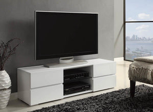 Open image in slideshow, Living Room : Tv Consoles - 4-drawer Tv Console Glossy White