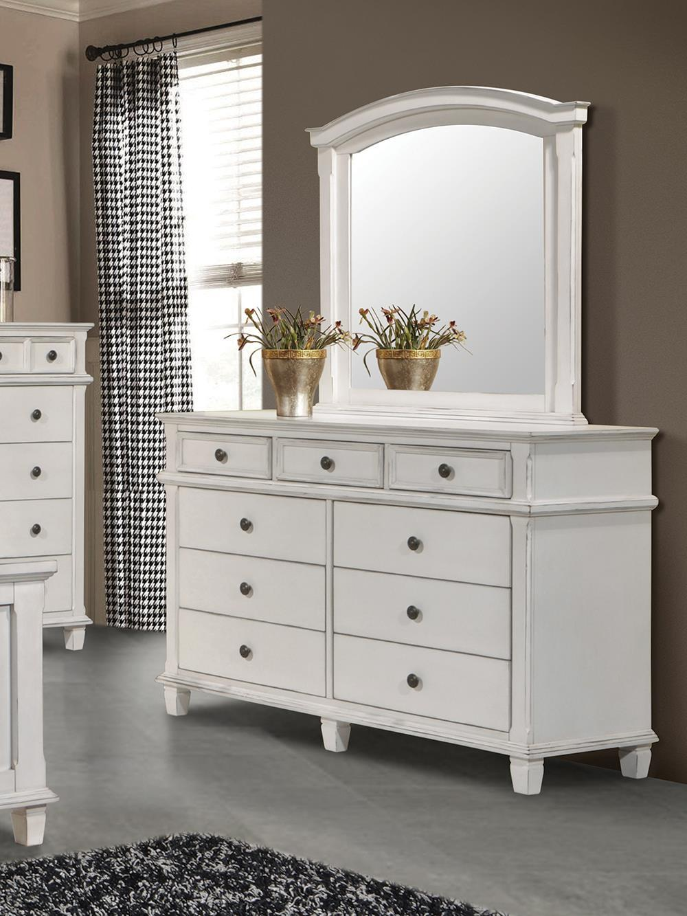Carolina Collection - Carolina Arched Mirror Antique White