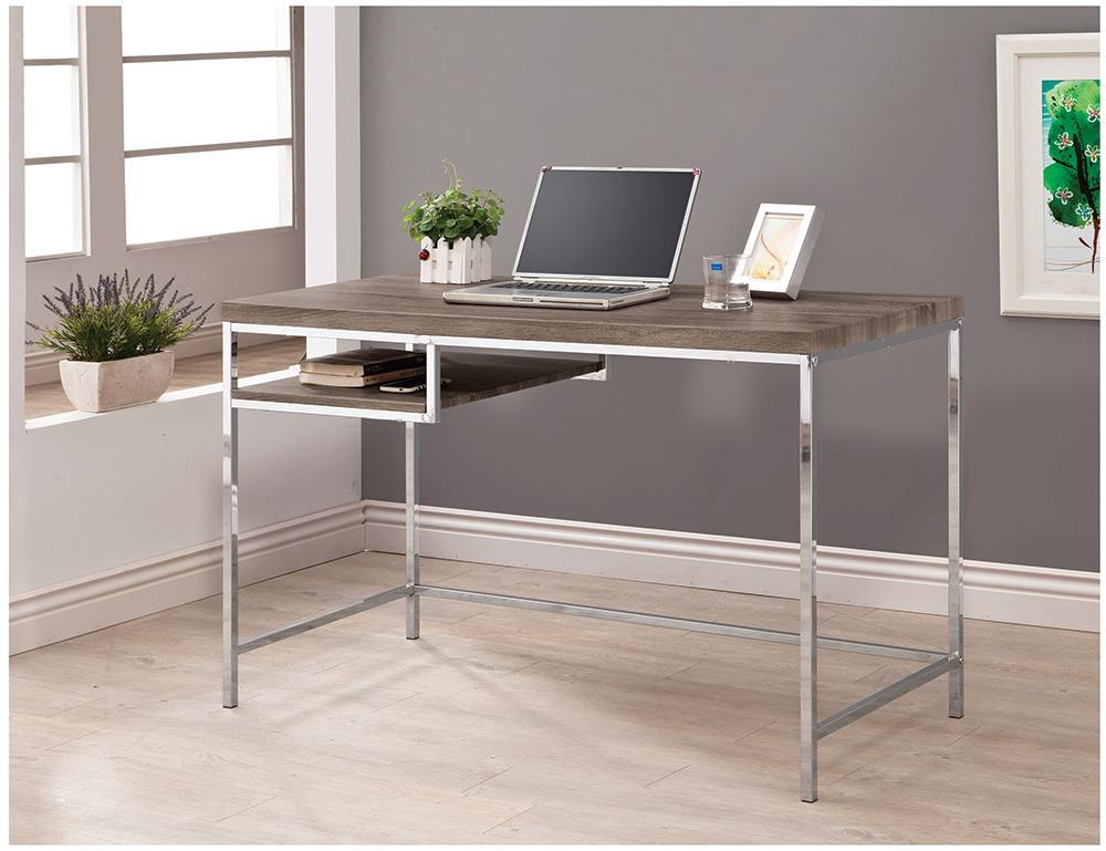 Kravitz Collection - Kravitz Rectangular Writing Desk Weathered Grey And Chrome