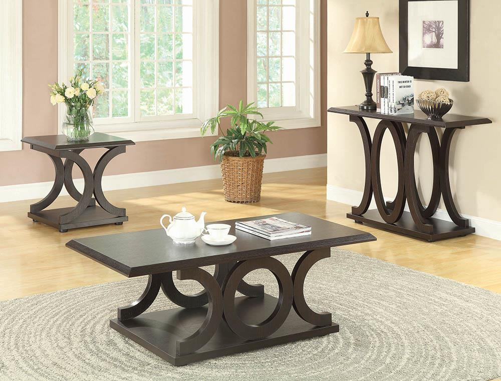 Living Room: Wood Top Occasional Tables - C-shaped Base Coffee Table Cappuccino