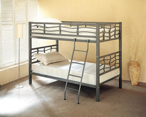 Open image in slideshow, Fairfax Bunk Bed - Fairfax Twin Over Twin Bunk Bed With Ladder Light Gunmetal