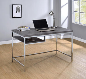 Open image in slideshow, Kravitz Collection - Kravitz Rectangular Writing Desk Weathered Grey And Chrome