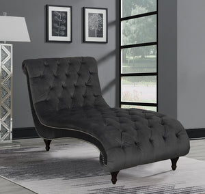 Open image in slideshow, Charcoal - Button Tufted Upholstered Chaise Charcoal