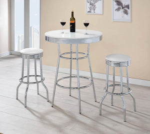 Open image in slideshow, Rec Room/ Bar Tables: Chrome/glass - Round Bar Table Chrome And Glossy White