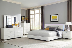 Felicity Collection - White - Felicity Queen Panel Bed With Led Lighting Glossy White