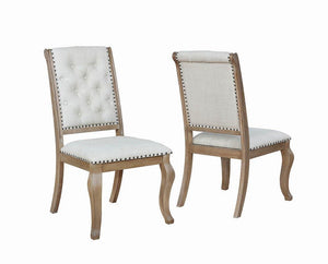 Glen Cove Collection - Cream - Brockway Cove Tufted Side Chairs Cream And Barley Brown (Set of 2)