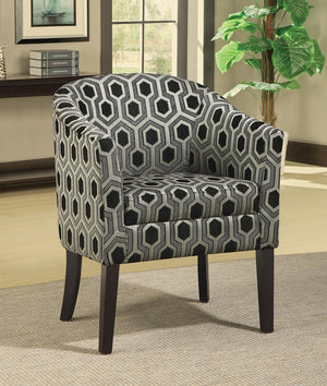 Open image in slideshow, Accents : Chairs - Grey White - Hexagon Patterned Accent Chair Grey And Black