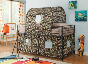 Open image in slideshow, Camouflage Tent Bed - Camouflage - Camouflage Tent Loft Bed With Ladder Army Green