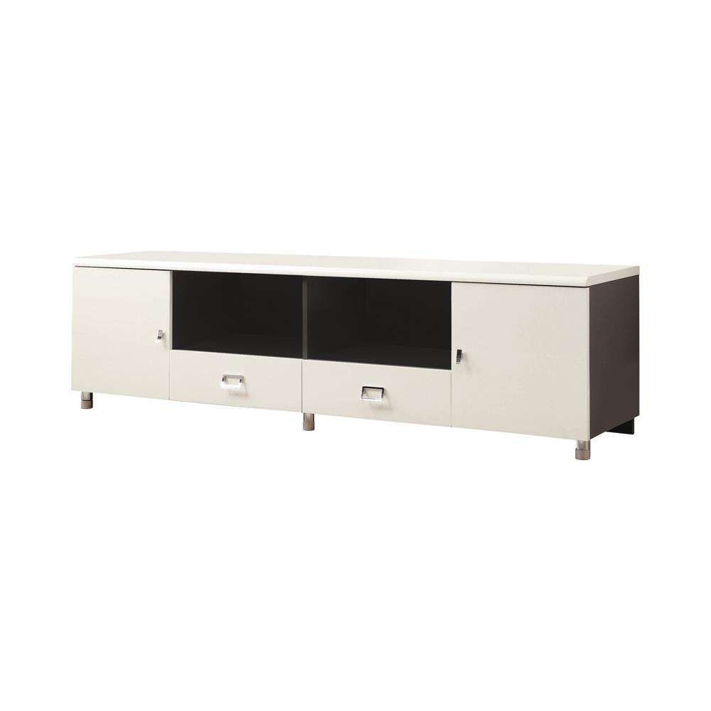 Living Room : Tv Consoles - 2-drawer Tv Console White And Grey