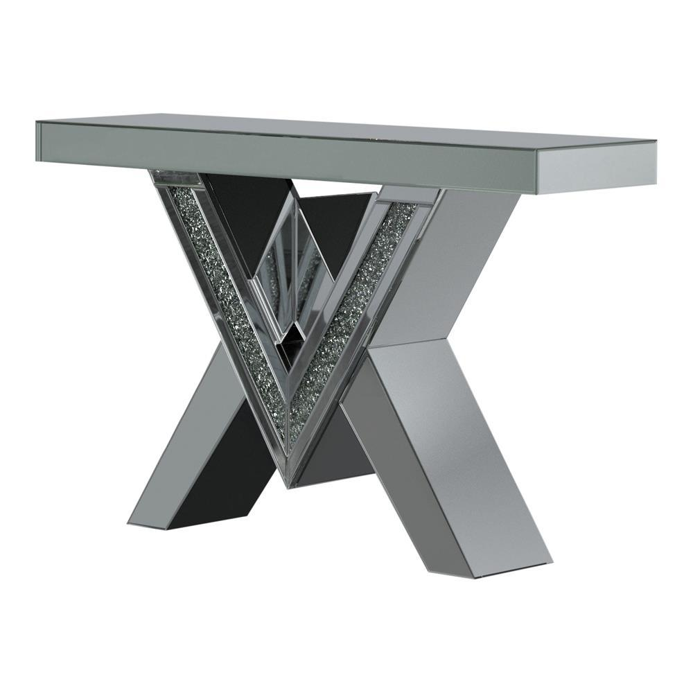 Caldwell V-shaped Sofa Table With Glass Top Silver