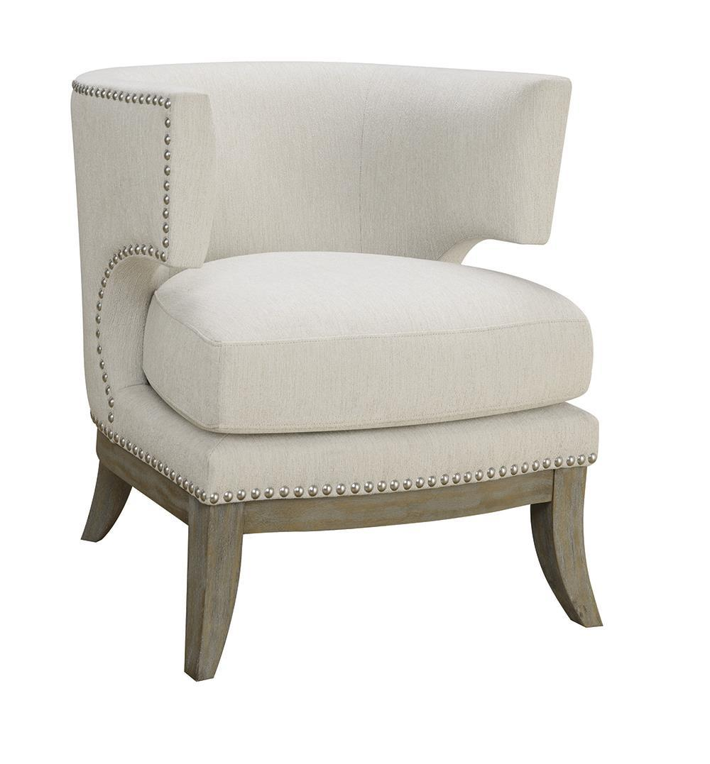 Accents : Chairs - White - Barrel Back Accent Chair White And Weathered Grey