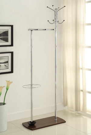 Open image in slideshow, Coat Rack With Umbrella Stand Chrome And Walnut