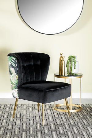 Black/flower - Tufted Upholstered Accent Chair Black