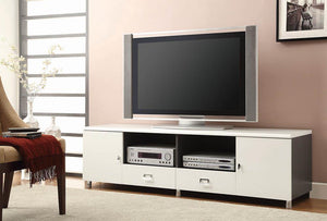 Open image in slideshow, Living Room : Tv Consoles - 2-drawer Tv Console White And Grey