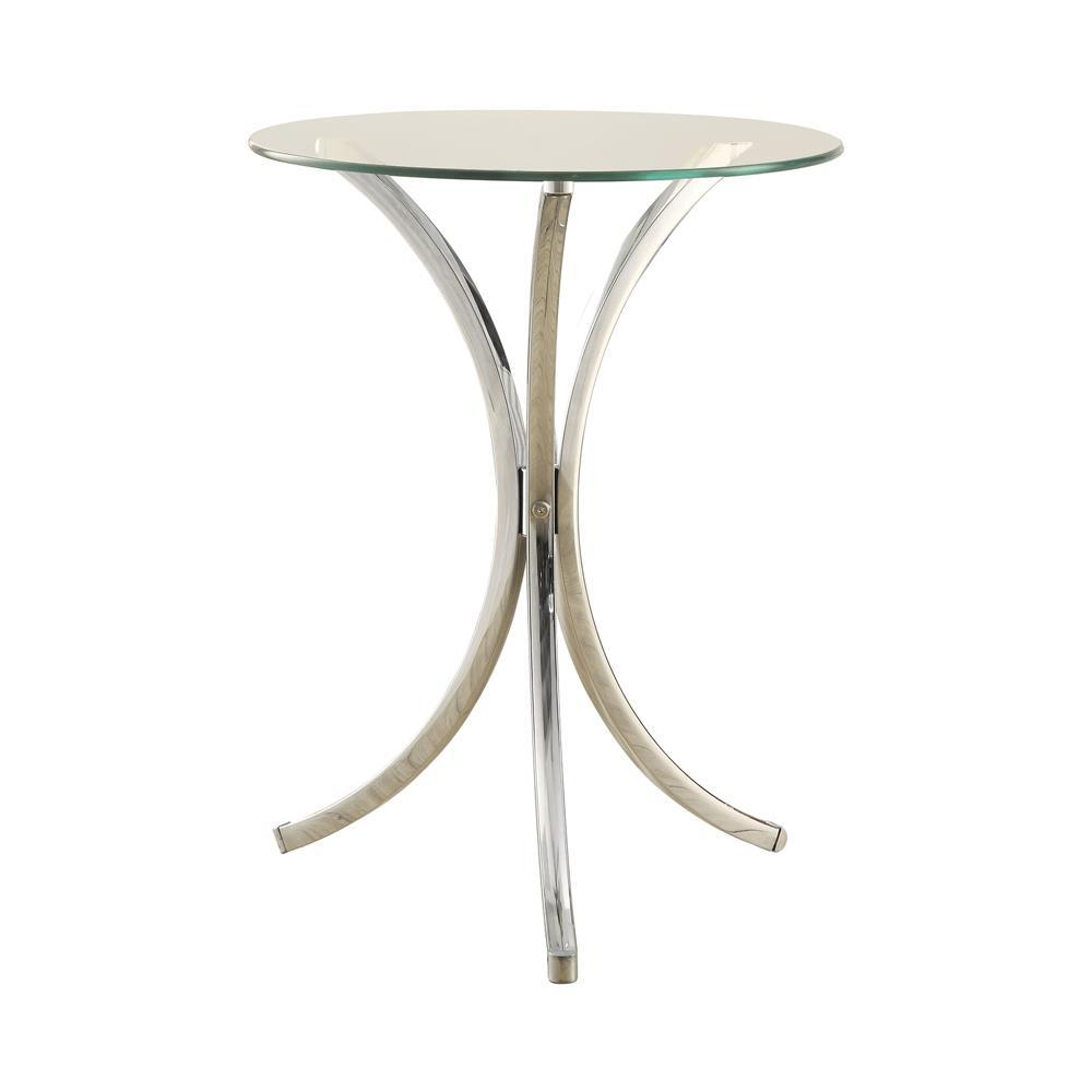 Round Accent Table With Curved Legs Chrome