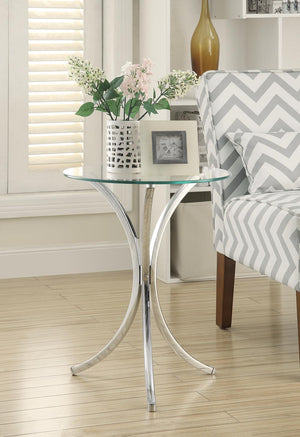Open image in slideshow, Round Accent Table With Curved Legs Chrome