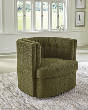 Open image in slideshow, Mossy Green - Recessed Arm Tufted Back Swivel Chair Moss Green