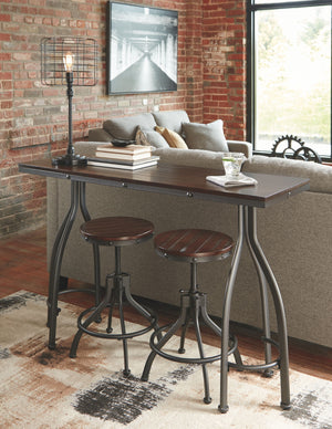 Open image in slideshow, Odium Counter Height Dining Room Table and Bar Stools (Set of 3)