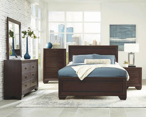 Open image in slideshow, Fenbrook Collection - Kauffman Eastern King Panel Bed Dark Cocoa