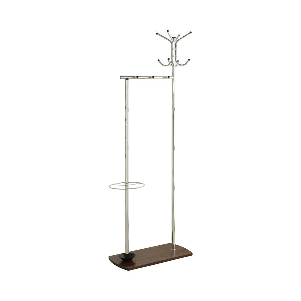 Coat Rack With Umbrella Stand Chrome And Walnut