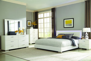 Open image in slideshow, Felicity Collection - Felicity Contemporary White And High Gloss California King Bed Box Two